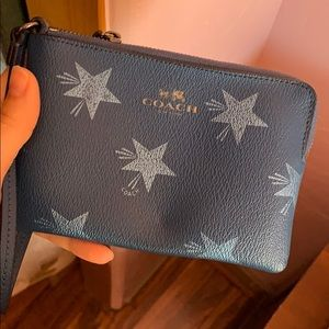 Blue Coach Wallet with zipper handle